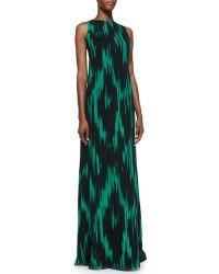 Michael Kors Ikatprint Sleeveless Gown - Lyst