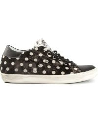 Leather Crown Polka Dot Print Sneakers - Lyst