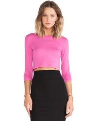 Blq Basiq Long Sleeve Crop Top - Lyst