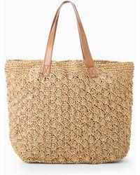 Mango Raffia Shopper Bag - Lyst