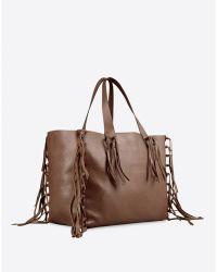 Valentino Big Brown Fringe Bag - Lyst