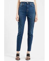 Topshop 'Cara' High Rise Raw Hem Jeans blue - Lyst