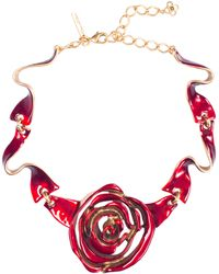 Oscar de la Renta Hand-painted Enamel Rose Necklace - Lyst