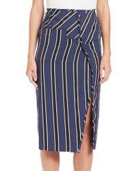 Acne   Asymmetrical Striped Pencil Skirt   Lyst