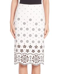 Marc Jacobs | Broderie Anglaise Pencil Skirt | Lyst