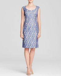 Adrianna Papell Dress - Sleeveless Metallic Lace Sheath - Lyst
