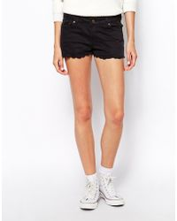 Ganni Cotton Shorts with Scalloped Hem - Lyst