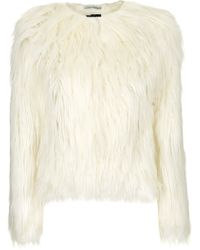 Topshop Faux Shearling Fur Jacket  Cream - Lyst