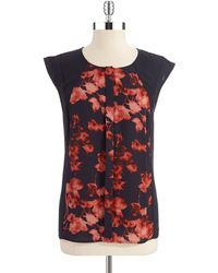 Vince Camuto Floral Cap Sleeved Blouse - Lyst