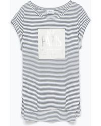 Zara Faux Leather Patch T-Shirt - Lyst