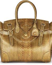 Ralph Lauren Python Soft Ricky Bag gold - Lyst