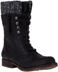 Steve Madden Jaax Lace-Up Boot Black Leather black - Lyst