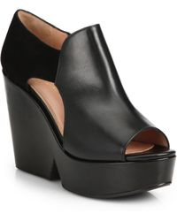 Robert Clergerie Leather & Suede Block-Wedge Sandals - Lyst