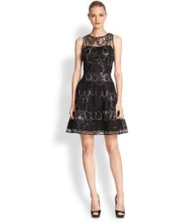Kay Unger Embroidered Sheer Lace Dress - Lyst