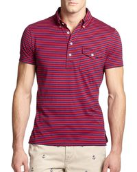 Polo Ralph Lauren Striped Jersey Polo red - Lyst