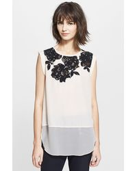 Rebecca Taylor Lace Inset Silk Top - Lyst