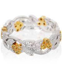 Kojis - Platinum Floral Yellow And White Diamond Ring - Lyst