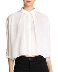 Alice + Olivia Cropped Botton-Down Blouse - Lyst