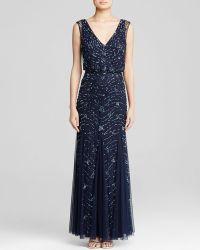 Aidan Mattox Gown - Sleeveless V-Neck Embellished Blouson Godet - Lyst