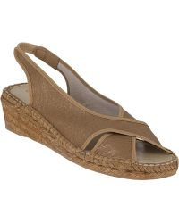 Andre Assous Dodie Wedge Espadrille Golden Beige Fabric brown - Lyst