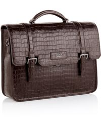 Hugo Boss Solitaire | Crocodile Emed Leather Messenger Bag With Detachable Shoulder Strap - Lyst