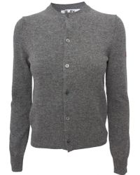 Comme Des Garçons Play Womens Small Red Heart Cardigan Grey - Lyst