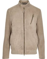 River Island Stone Holloway Road Suede Bomber - Lyst