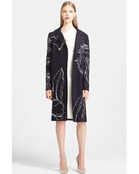 Oscar de la Renta Wool Blend Embroidered Coat - Lyst