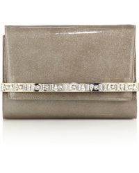 Jimmy Choo | Bow Glittered & Embellished Patent Leather Clutch | Lyst
