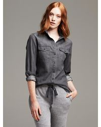Banana Republic Soft Wash Gray Denim Shirt  Dark Gray - Lyst