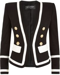 Balmain Double Breasted Contrast Blazer - Lyst