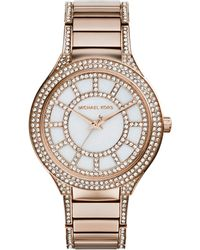 Michael Kors Mid-Size Rose Golden Stainless Steel Kerry Three-Hand Glitz Watch - Lyst