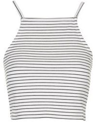 Topshop Petite Striped Crop Top - Lyst