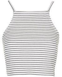Topshop Petite Striped Crop Top - Lyst