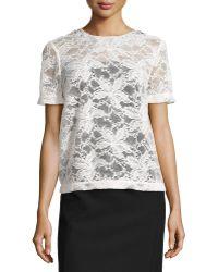 Monique Lhuillier Short-Sleeve Lace Blouse W/ Embellished Neck - Lyst
