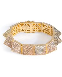 Eddie Borgo Gold-Plated Pyramid Bracelet With Crystal Embellishment - Lyst