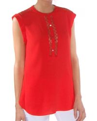 Rebecca Taylor Sleeveless Crepe Lace Top red - Lyst