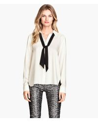 H&M Blouse with A Bow - Lyst
