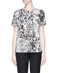 St. John Panelled Animal Spot Print Silk Top - Lyst