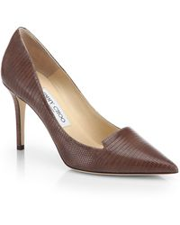Jimmy Choo Alia Embossed Leather Notched Pumps - Lyst
