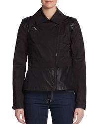 Dawn Levy Leather-Trim Peplum Jacket - Lyst