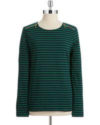 Anne Klein Green Zipper-Detailed Pullover - Lyst