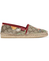 Gucci - Tian Leather-trimmed Printed Coated Canvas Espadrilles - Lyst