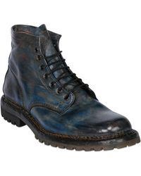 Premiata Hand Brushed Leather Lace-up Boots - Lyst