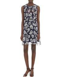 Nina Ricci Rose Print Organza Dress - Lyst