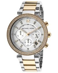Michael Kors Womens Chronograph White Dial Two Tone Ip Stainless - Lyst
