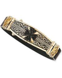 Konstantino Mens Leather  Spinel-cross Bracelet - Lyst
