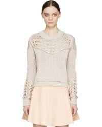 3.1 Phillip Lim Beige Pointelle_Knit Sweater - Lyst