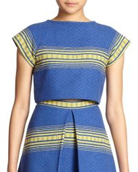 Alice + Olivia Amy Striped Woven Cotton Cropped Top - Lyst