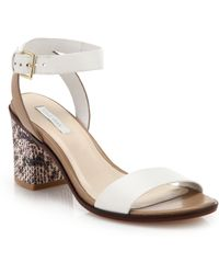 Cole Haan Cambon Leather & Snake-Embossed Leather Sandals - Lyst